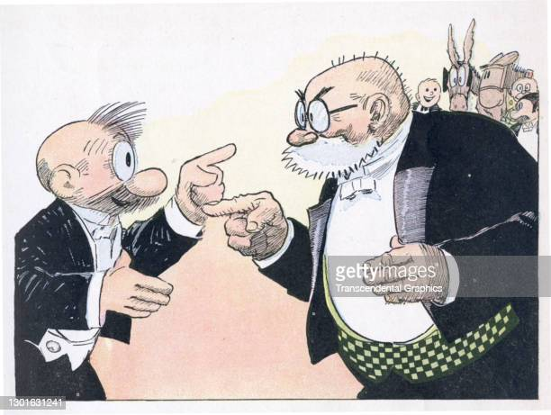 Lithographic plate depicts various, well-known characters from the comics, two of whom are seen here arguing, 1926. Originally published in the book...