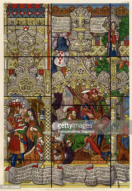 Lithographic plate featuring a stained glass window with depicting the history of Robin Hood London England 1873