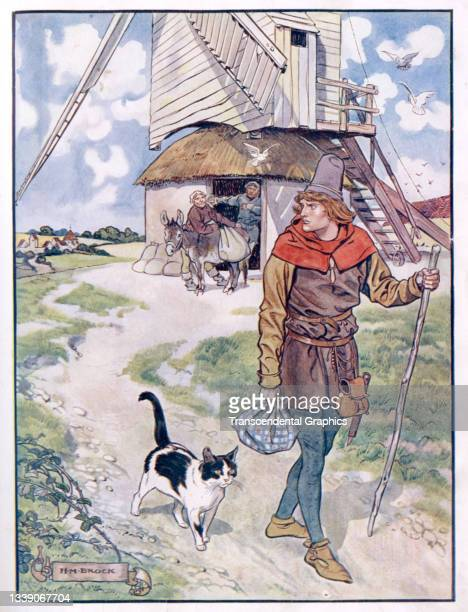 Lithographic plate from the book 'The Old Fairy Tales' features an illustration from a scene in the story of 'Puss in Boots' where a young man sets...