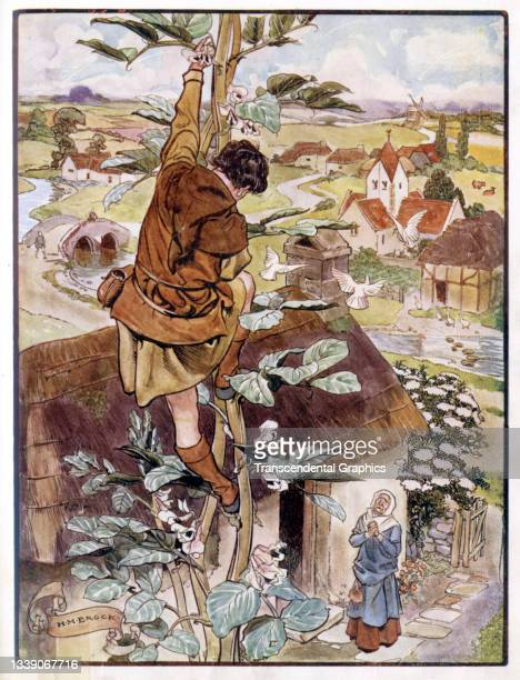 Lithographic plate from the book 'The Old Fairy Tales' features an illustration from a scene in the story of 'Jack and the Beanstalk' where Jack...