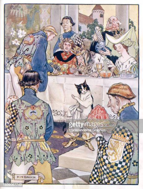 Lithographic plate from the book 'The Old Fairy Tales' features an illustration from a scene in the story of 'Puss in Boots' where a cat hosts a...