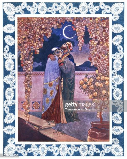 Lithographic plate from the book 'The Rubaiyat of Omar Khayyam' features an illustration of a couple embracing in the moonlight, 1913. The image...