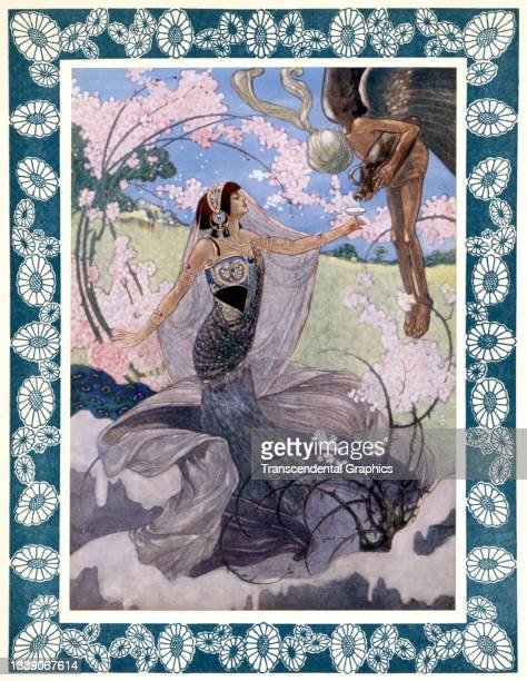 Lithographic plate from the book 'The Rubaiyat of Omar Khayyam' features an illustration of a woman as she greets a winged figure, 1913. The image...