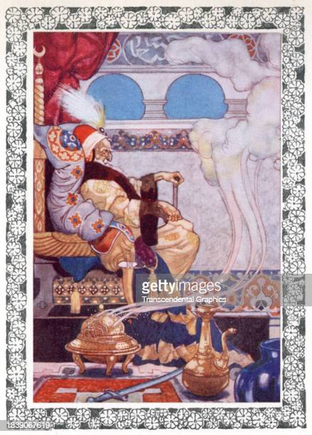 Lithographic plate from the book 'The Rubaiyat of Omar Khayyam' features an illustration of the Grand Vizier seated on a throne, 1913. The image...