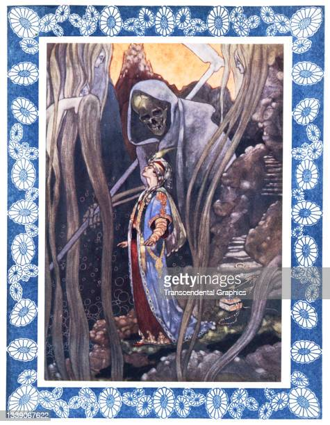 Lithographic plate from the book 'The Rubaiyat of Omar Khayyam' features an illustration of the specter of death looming behind a young man, 1913....