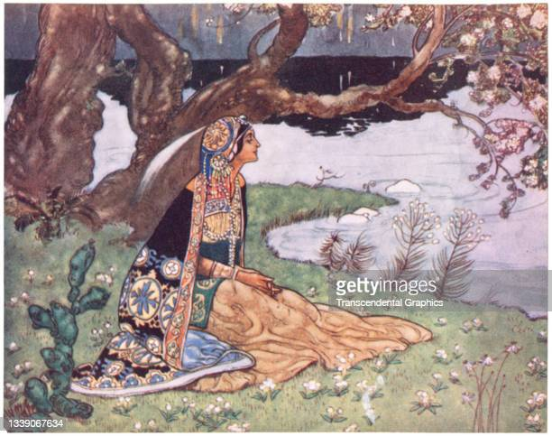 Lithographic plate from the book 'The Rubaiyat of Omar Khayyam' features an illustration of a woman seated beside a river, 1913. The image appeared...