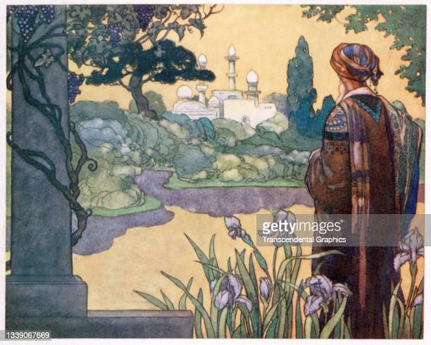 Lithographic plate from the book 'The Rubaiyat of Omar Khayyam' features an illustration of a man as he looks across a lake towards a palace on the...