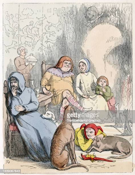 Lithographic plate from William Makepeace Thackeray's book 'Rebecca and Rowena' features an illustration from a scene where various characters,...