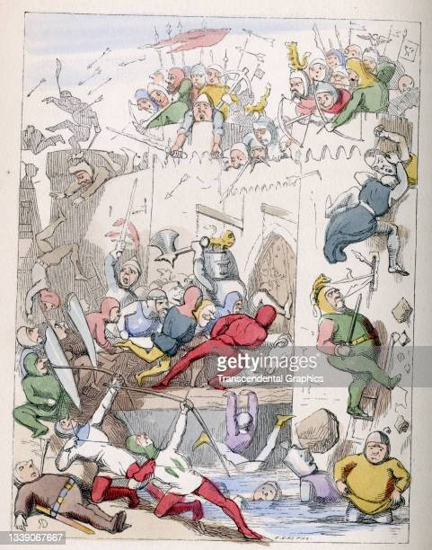 Lithographic plate from William Makepeace Thackeray's book 'Rebecca and Rowena' features an illustration from a scene where a castle is assaulted,...