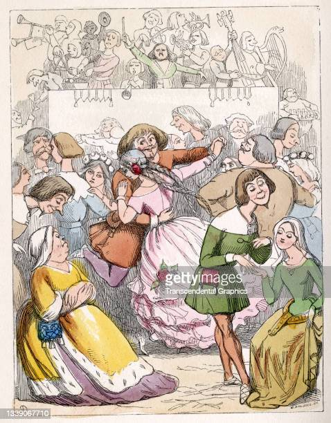 Lithographic plate from William Makepeace Thackeray's book 'Rebecca and Rowena' features an illustration from a scene where characters dance to...