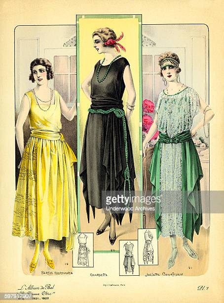 A lithographic plate of three fashionable women from a French fashion catalogue 'De La Femme Chic' Paris France 1921