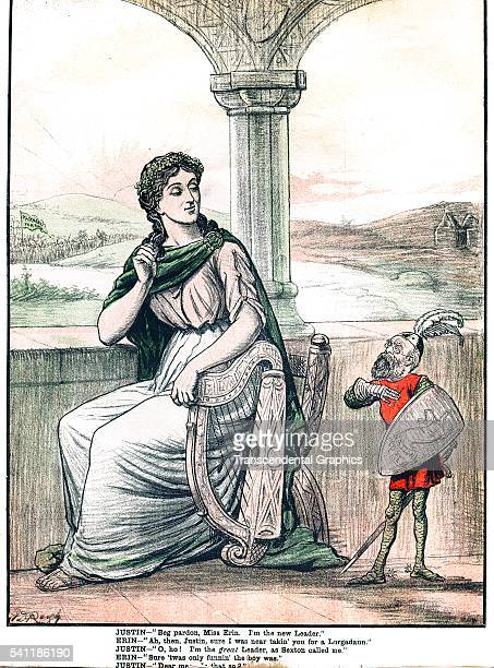 Lithographic political cartoon during the Irish Potato Famine Dublin Ireland 1890