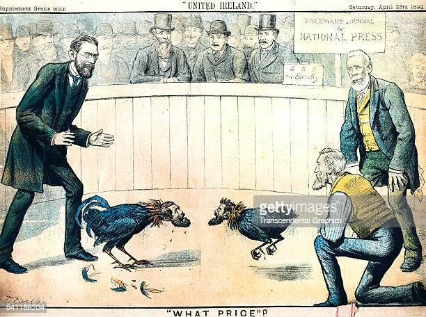 Lithographic political cartoon during the Irish Potato Famine Dublin Ireland April 23 1892