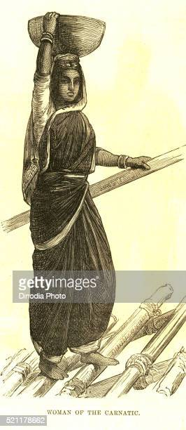 lithographic portraits woman of the carnatic iln 25 march 1876, india - lithograph stock pictures, royalty-free photos & images