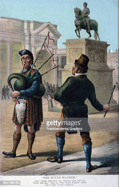 A lithographic postcard features a cartoon about the conflicts between the Scots and the Irish and is published in London England around 1910 The...
