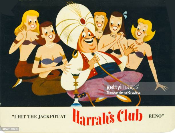 Lithographic postcard with a cartoon harem theme advertises Harrah's Casino in Reno Nevada around 1960. A sultan in a turban has five members of his...
