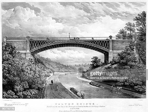 Lithographic print by Louis Haghe after an original drawing by R Bridgens depicting Galton Bridge designed by Thomas Telford and 'erected over the...
