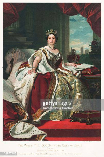 Lithographic print from a painting by F Wintermalter of a young Queen Victoria c1850