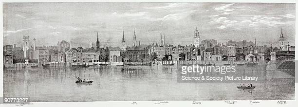 Lithographic sketch by T M Baynes after a drawing from nature by the same showing the buildings and places along the River Thames from the Steel Yard...