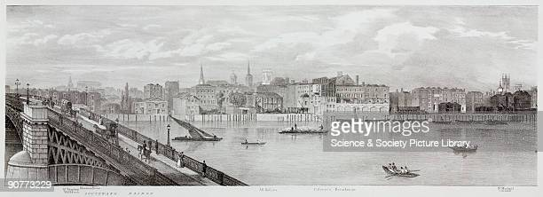 Lithographic sketch by T M Baynes after a drawing from nature by the same showing the buildings and places along the River Thames from Southwark...