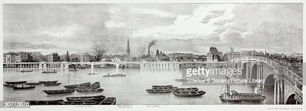 Lithographic sketch by T M Baynes after a drawing from nature by the same showing the buildings and places along the River Thames including...