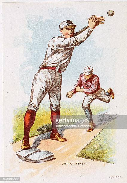 Lithographic trade card featuring a force play at first base during a baseball game Buffalo New York circa 1880