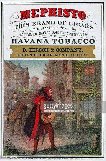 A lithographic Victorian era cigar box label entitled 'Mephisto' New York New York circa 1865