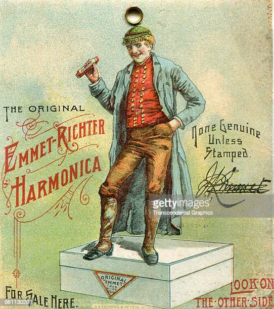 A lithographic Victorian trade card promoting a mouth harp or harmonica from Germany New York New York circa 1880