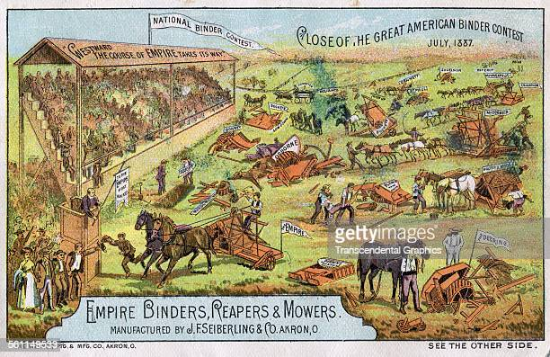 A lithographic Victorian trade card promoting agricultural machinery has equipment shown at a county fair Akron Ohio circa 1880