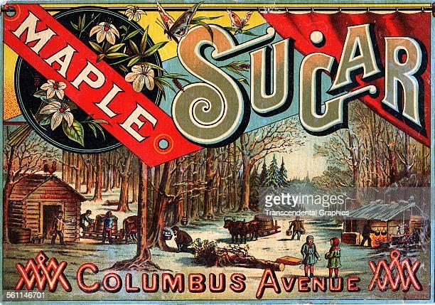 A lithographic Victorian trade card promoting Columbus Avenue Maple Sugar circa 1880