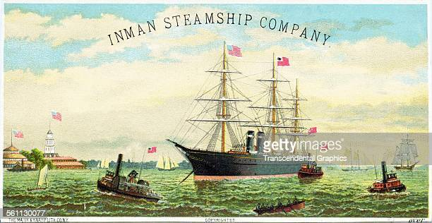 A lithographic Victorian trade card promoting ocean travel by the Inman Steamship Line New York New York circa 1880