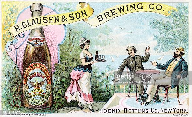A lithographic Victorian trade card promoting the beers and ales of the H Clausen Co New York New York circa 1880