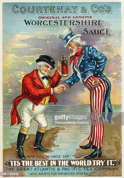 A lithographic Victorian trade card promoting Worcestershire Sauce using John Bull and Uncle Sam in the image New York New York circa 1890