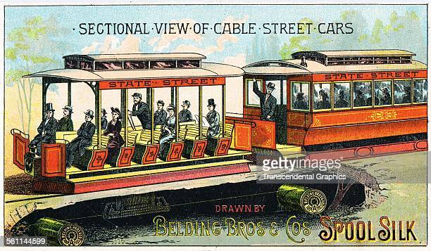 A lithographic Victorian trade card shows a streetcar full of people with wheels made of thread spools Belding Michigan circa 1880