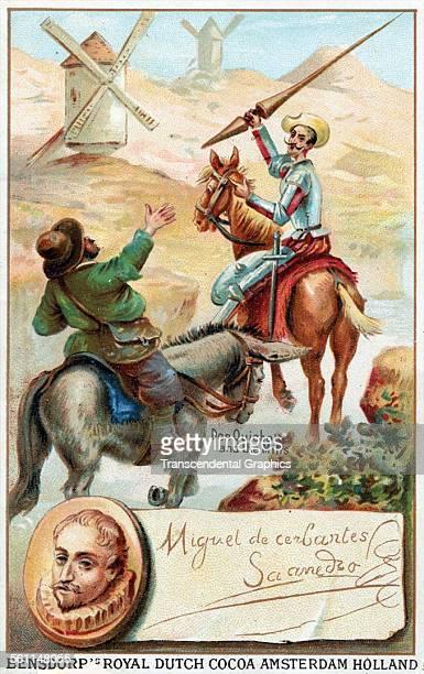 A lithographic Victorian trade card using a Don Quixote image to sell cocoa Amsterdam Holland circa 1890