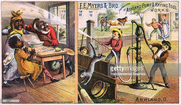 A lithographic Victorian trade card with a comical racist farm scene Chicago Illinois circa 1880