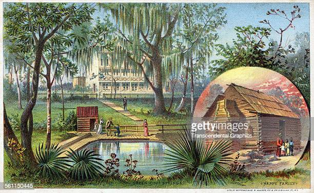 A lithographic Victorian trade card with a complex view of a southern mansion with slave quarters inset New York New York circa 1880