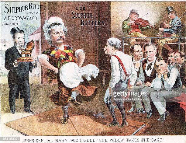 A lithographic Victorian trade poster mocking political candidate Benjamin Butler while advertising a brand of bitters Boston Massachusetts 1884