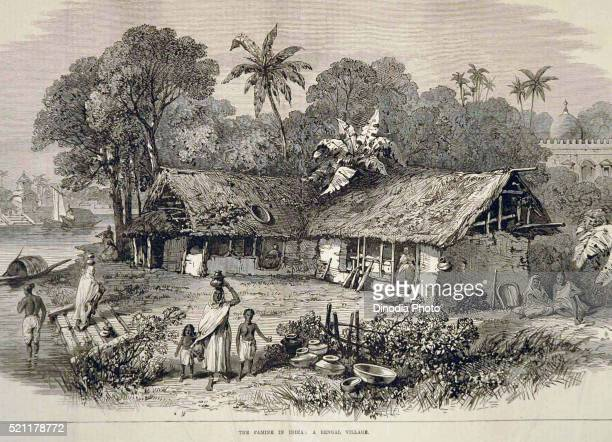 Lithographs Famine in India Bengal Village, West Bengal, India