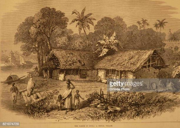 Lithographs The Famine in India Bengal Village, West Bengal, India