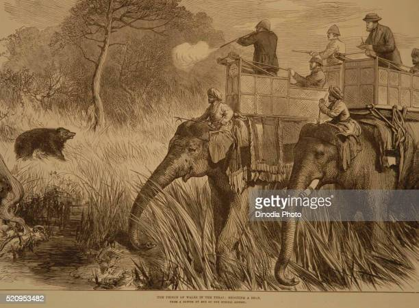 Lithographs The Prince of Wales in the Terai Shooting Bear, India
