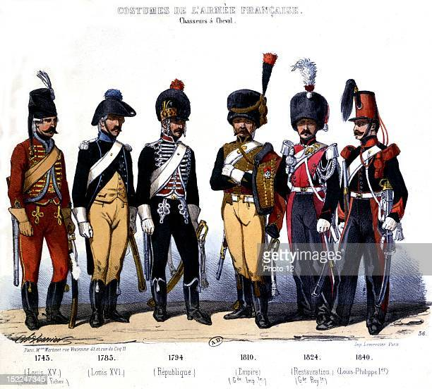 Lithography by Charles Vernier French army uniforms cavalrymen from 1745 to 1840 19th France Paris Bibliotheque des Arts decoratifs