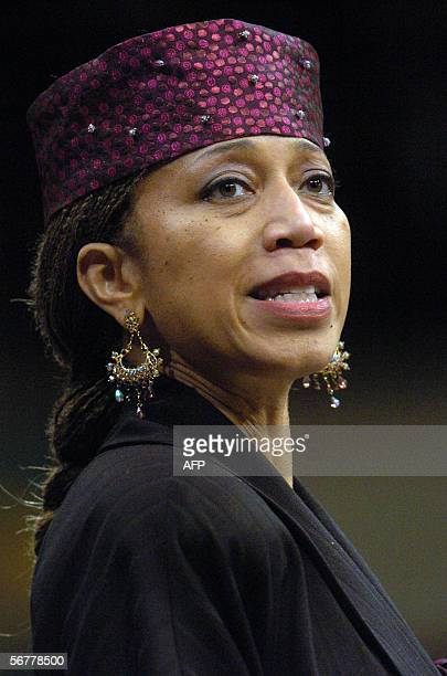Attallah Shabazz daughter of the late African American leader Malcolm X listens during the funeral of Coretta Scott King 07 February 2006 at the New...