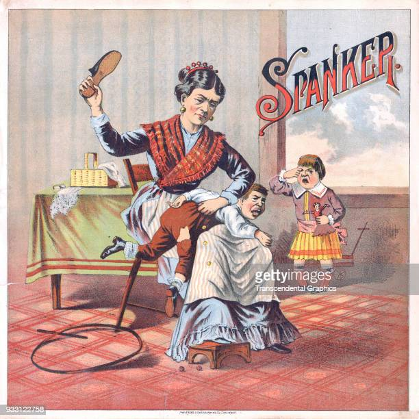 Lithpograph entitled 'Spanker' depicts a woman as she raises a shoe over her head as she prepares to paddle a young boy who cries on her lap circa...