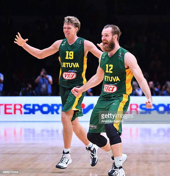 Lithuania celebrate after winning the match during the EuroBasket 2015 Semifinal match between Serbia and Lithuania at the Pierre Mauroy Stadium in...