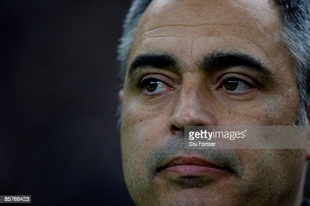 Lithuania coach Jose Couceiro looks on before the group 7 FIFA2010 World Cup Qualifier between France and Lithuania at Saint Denis Stade de France on...