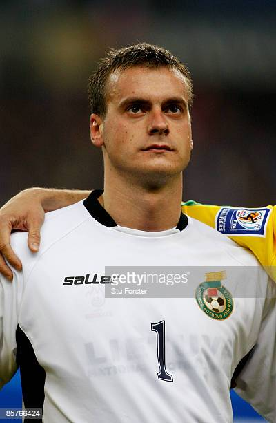 Lithuania goalkeeper Zydrunas Karcemarskas looks on during the national anthems before the group 7 FIFA2010 World Cup Qualifier between France and...