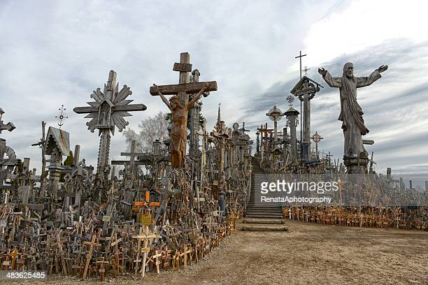 lithuania, hill of crosses - lithuania stock pictures, royalty-free photos & images