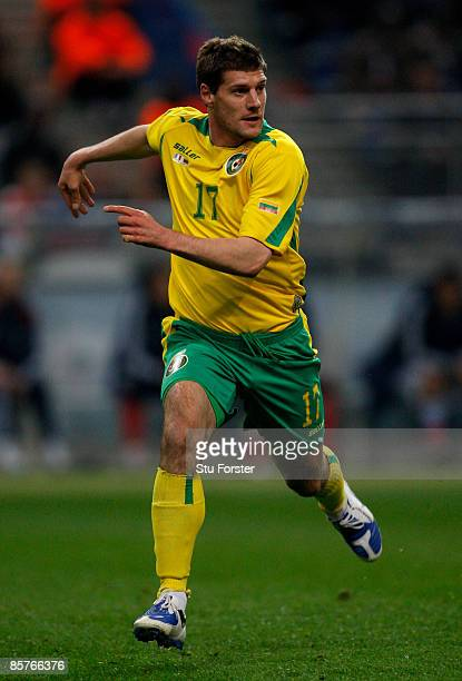 Lithuania player Andrius Velicka in action during the group 7 FIFA2010 World Cup Qualifier between France and Lithuania at Saint Denis Stade de...