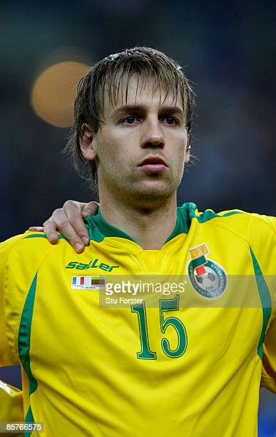 Lithuania player Arunas Klimavicius looks on before the group 7 FIFA2010 World Cup Qualifier between France and Lithuania at Saint Denis Stade de...